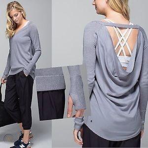Lululemon Unity Pullover Drape Back in Dark Grey